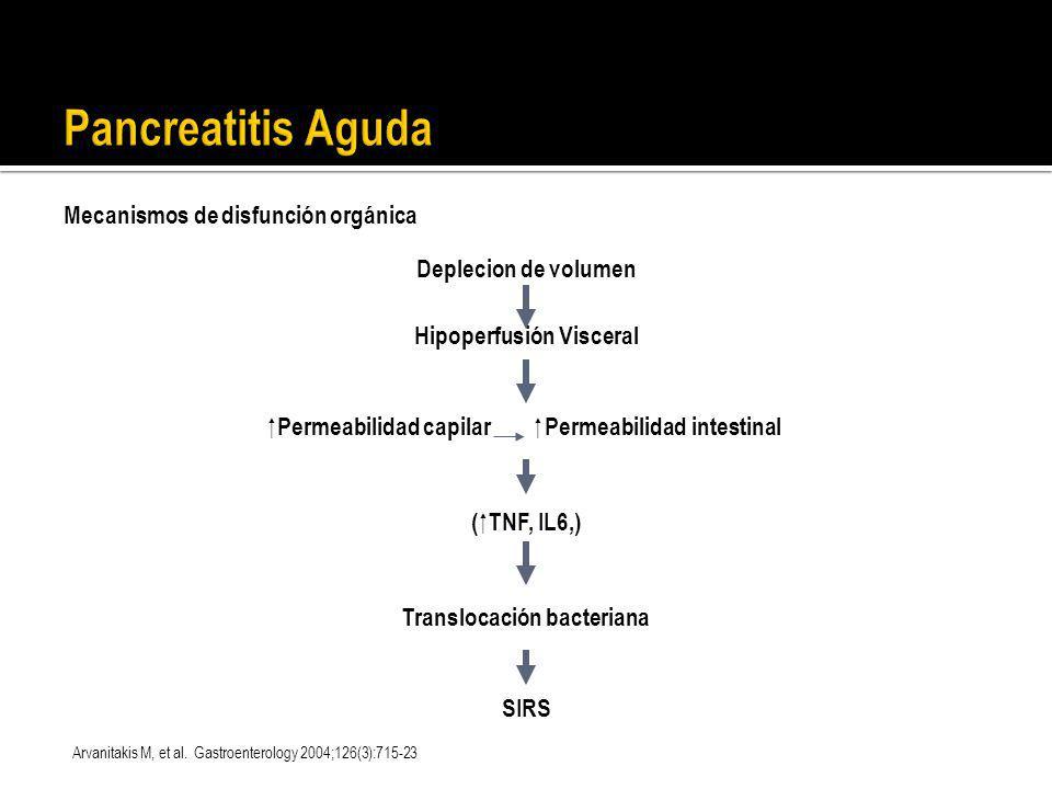 Pancreatitis Aguda Mecanismos de disfunción orgánica Deplecion de volumen Hipoperfusión Visceral Permeabilidad capilar Permeabilidad intestinal ( TNF,