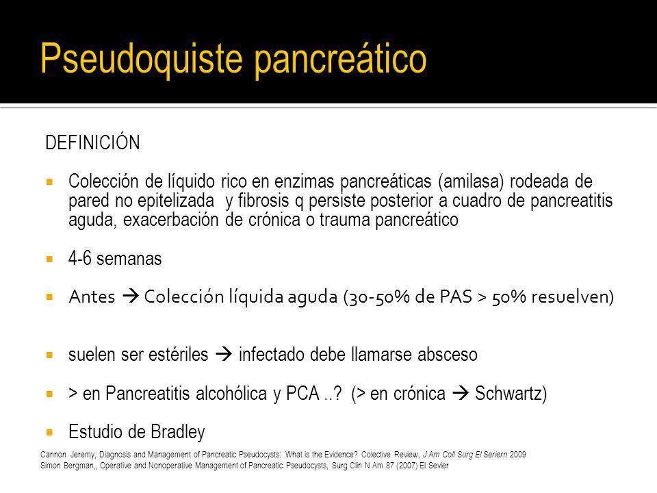 DEFINICIÓN Colección de líquido rico en enzimas pancreáticas (amilasa) rodeada de pared no epitelizada y fibrosis q persiste posterior a cuadro de pan