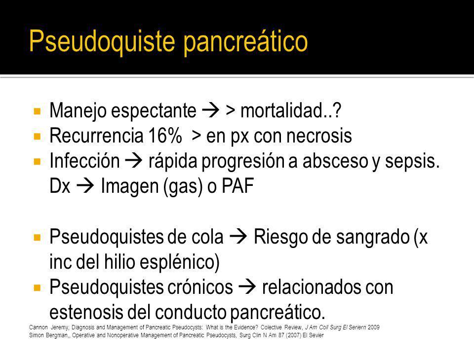 Manejo espectante > mortalidad..? Recurrencia 16% > en px con necrosis Infección rápida progresión a absceso y sepsis. Dx Imagen (gas) o PAF Pseudoqui