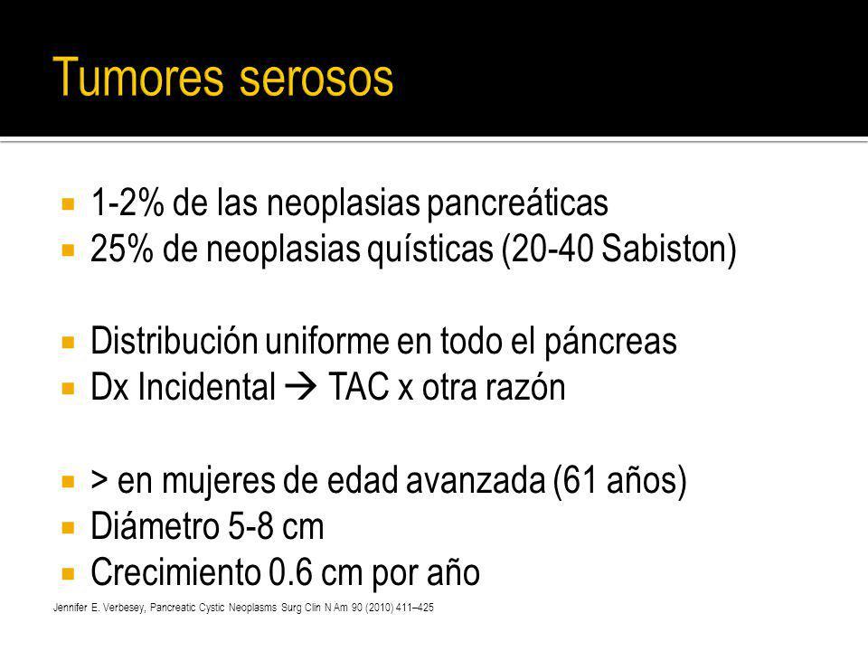 1-2% de las neoplasias pancreáticas 25% de neoplasias quísticas (20-40 Sabiston) Distribución uniforme en todo el páncreas Dx Incidental TAC x otra ra