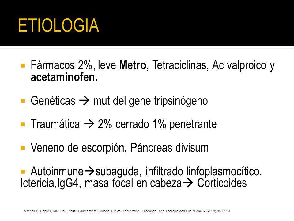 Fármacos 2%, leve Metro, Tetraciclinas, Ac valproico y acetaminofen. Genéticas mut del gene tripsinógeno Traumática 2% cerrado 1% penetrante Veneno de
