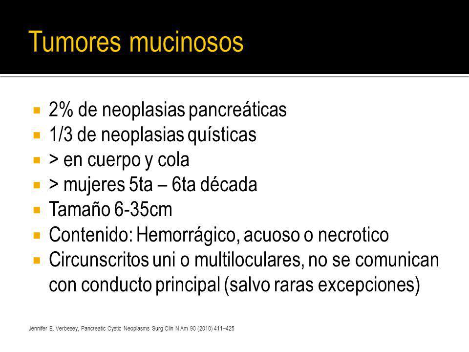 2% de neoplasias pancreáticas 1/3 de neoplasias quísticas > en cuerpo y cola > mujeres 5ta – 6ta década Tamaño 6-35cm Contenido: Hemorrágico, acuoso o