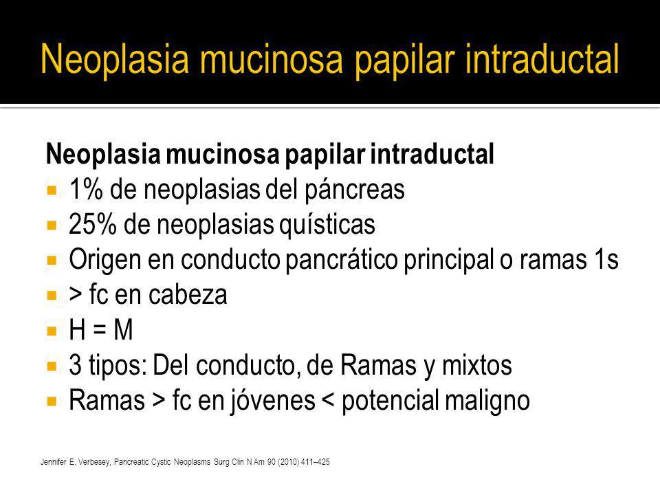 Neoplasia mucinosa papilar intraductal 1% de neoplasias del páncreas 25% de neoplasias quísticas Origen en conducto pancrático principal o ramas 1s >