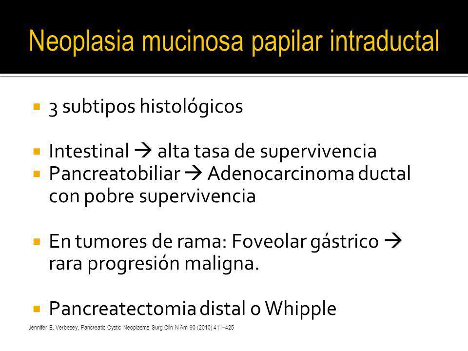 3 subtipos histológicos Intestinal alta tasa de supervivencia Pancreatobiliar Adenocarcinoma ductal con pobre supervivencia En tumores de rama: Foveol
