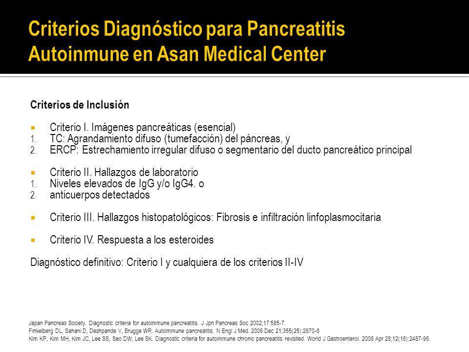 Criterios de Inclusión Criterio I. Imágenes pancreáticas (esencial) 1. TC: Agrandamiento difuso (tumefacción) del páncreas, y 2. ERCP: Estrechamiento