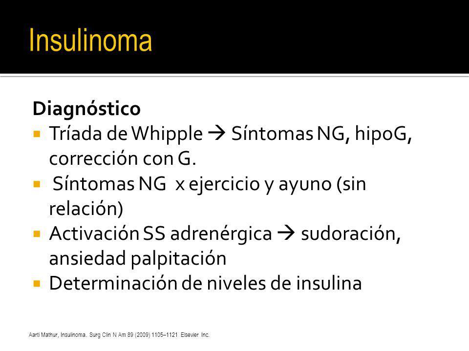 Diagnóstico Tríada de Whipple Síntomas NG, hipoG, corrección con G. Síntomas NG x ejercicio y ayuno (sin relación) Activación SS adrenérgica sudoració