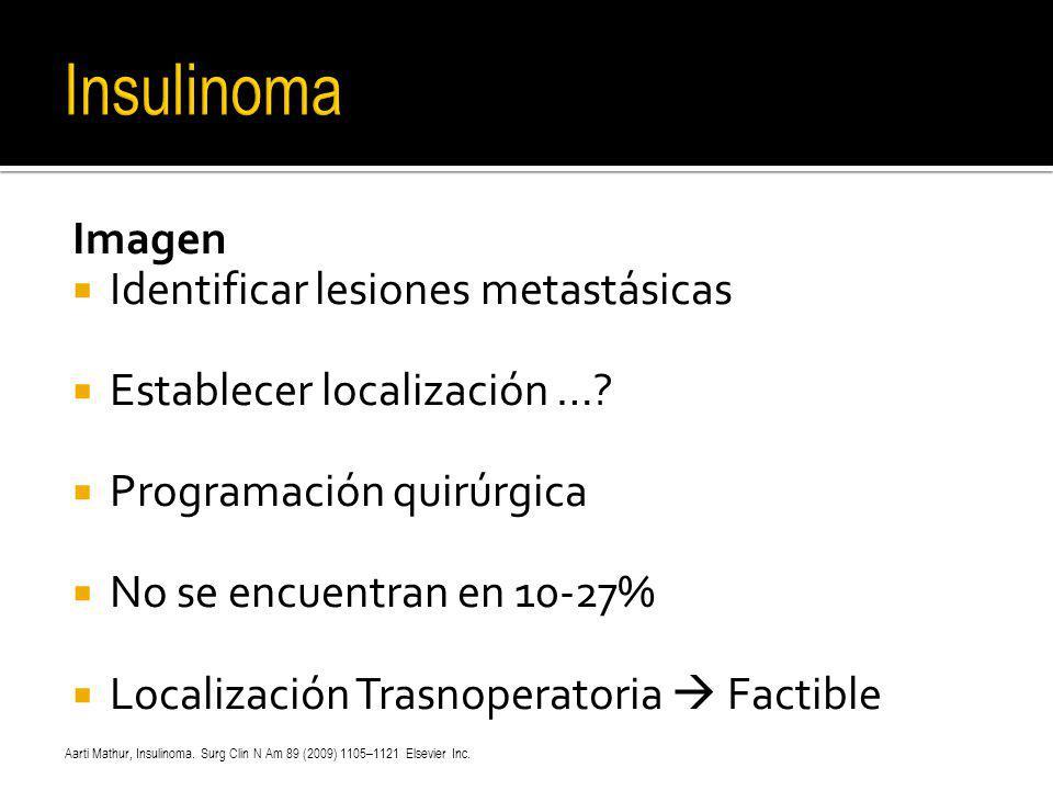 Imagen Identificar lesiones metastásicas Establecer localización …? Programación quirúrgica No se encuentran en 10-27% Localización Trasnoperatoria Fa