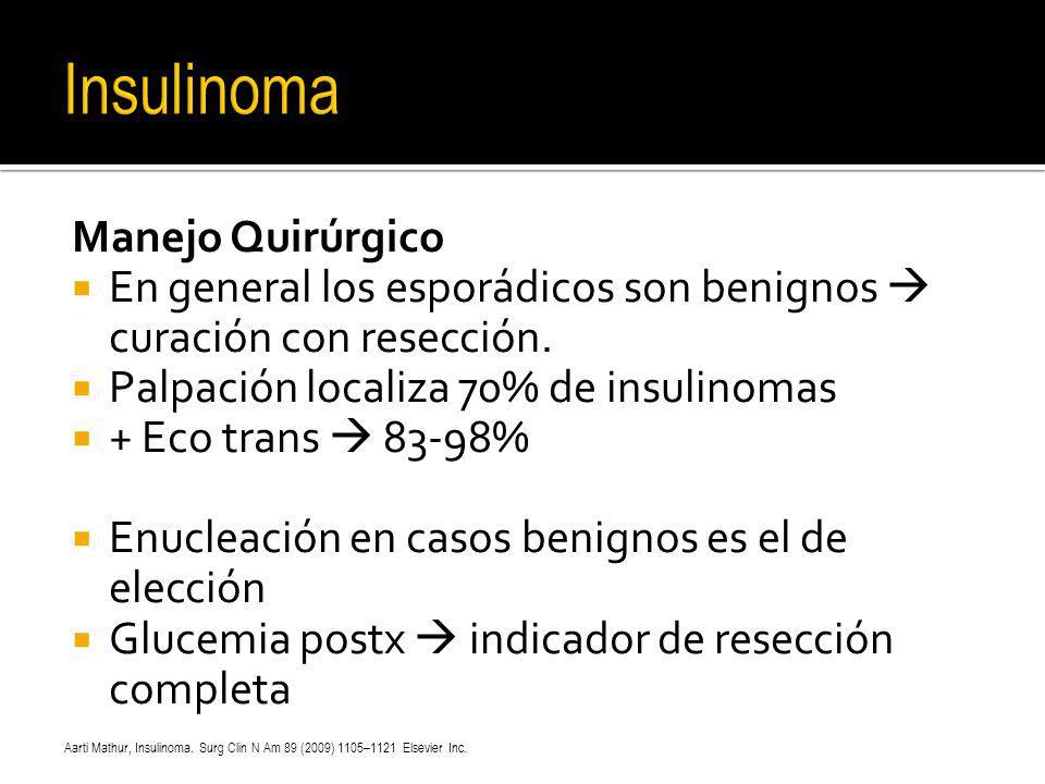 Manejo Quirúrgico En general los esporádicos son benignos curación con resección. Palpación localiza 70% de insulinomas + Eco trans 83-98% Enucleación