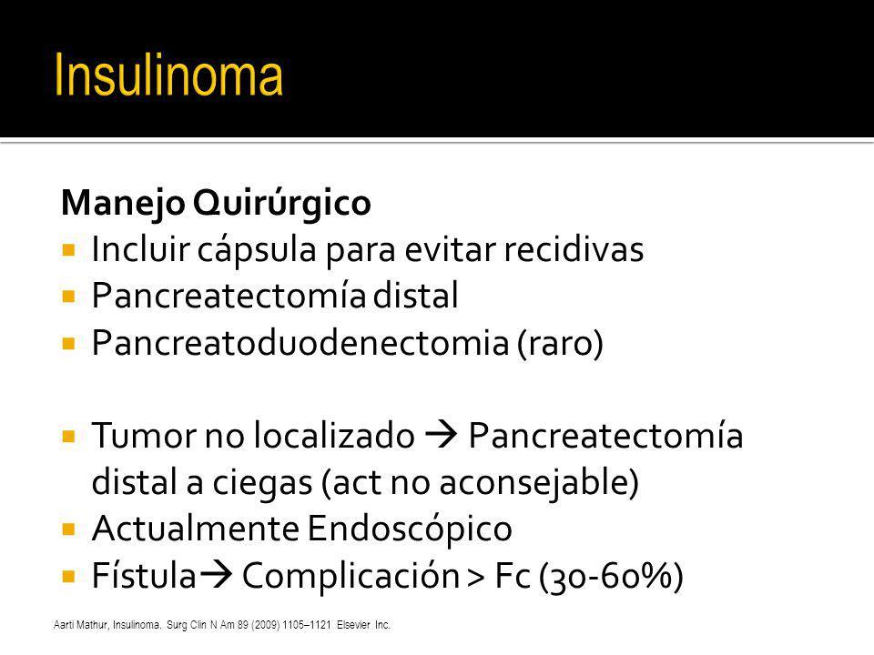 Manejo Quirúrgico Incluir cápsula para evitar recidivas Pancreatectomía distal Pancreatoduodenectomia (raro) Tumor no localizado Pancreatectomía dista