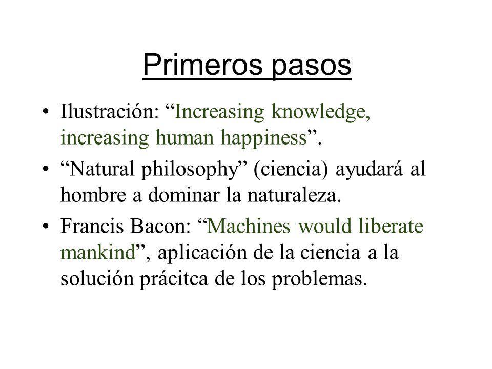 Primeros pasos Ilustración: Increasing knowledge, increasing human happiness. Natural philosophy (ciencia) ayudará al hombre a dominar la naturaleza.