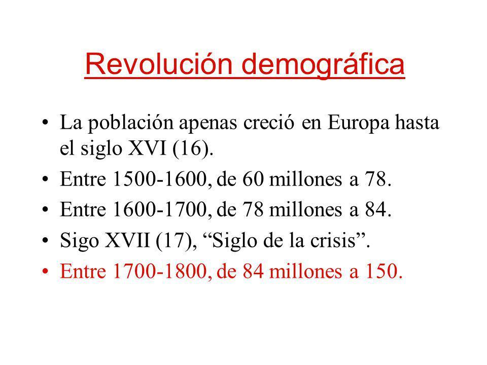 Revolución demográfica La población apenas creció en Europa hasta el siglo XVI (16). Entre 1500-1600, de 60 millones a 78. Entre 1600-1700, de 78 mill