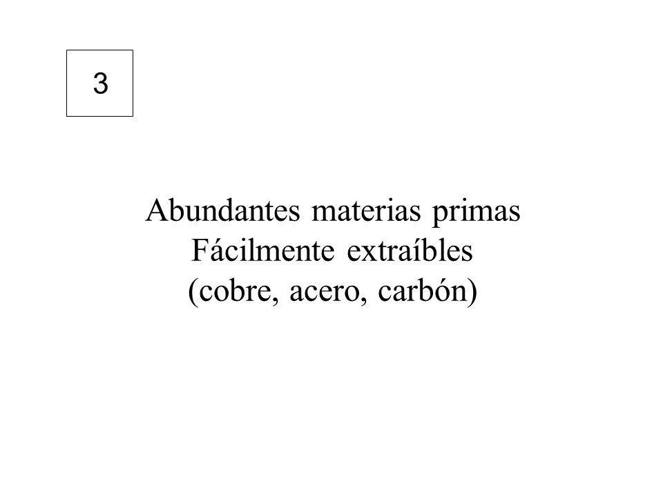 Abundantes materias primas Fácilmente extraíbles (cobre, acero, carbón) 3