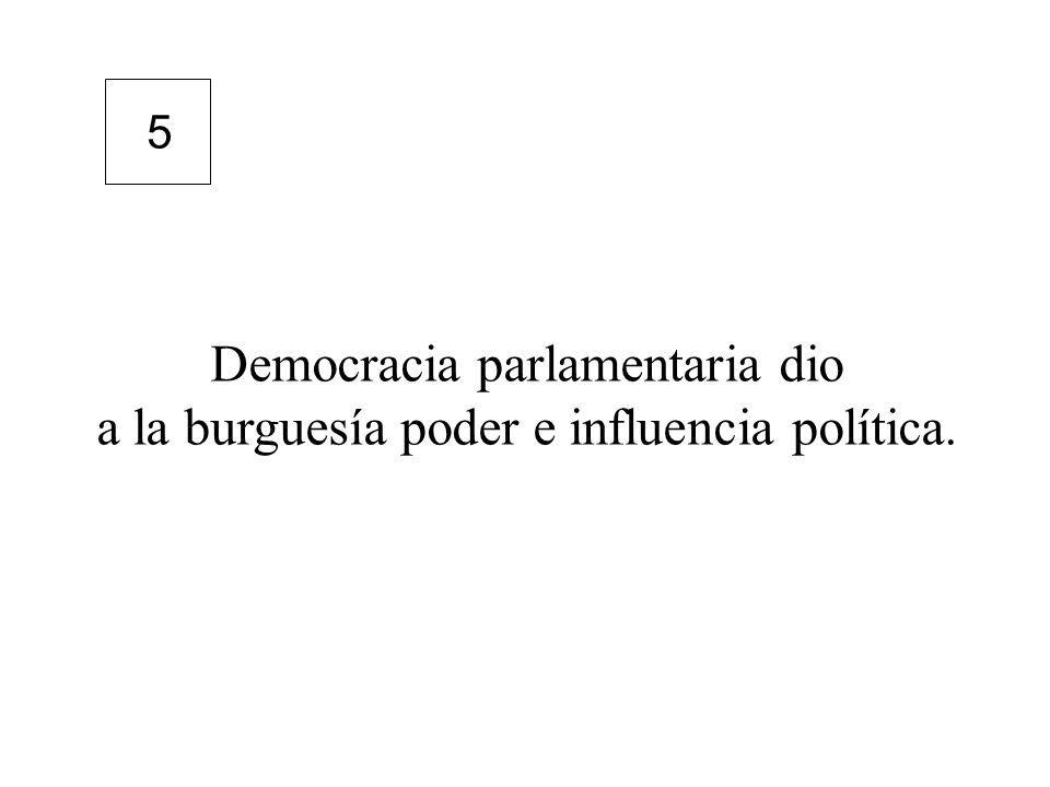 Democracia parlamentaria dio a la burguesía poder e influencia política. 5