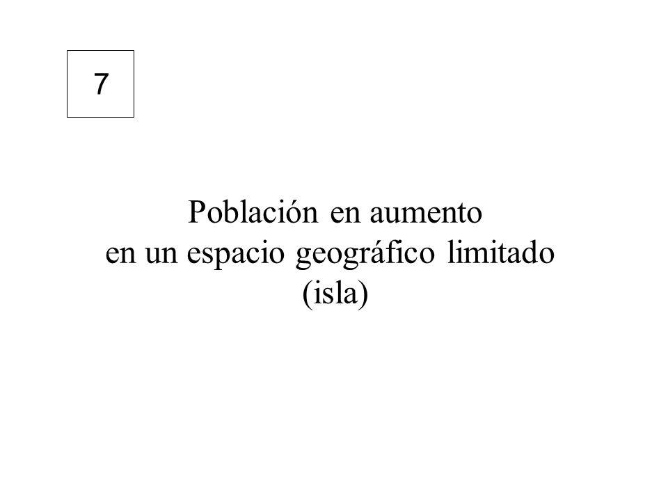 Población en aumento en un espacio geográfico limitado (isla) 7