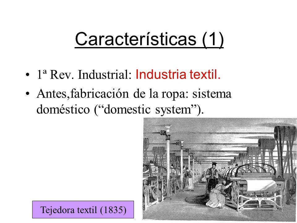 Características (1) 1ª Rev. Industrial: Industria textil. Antes,fabricación de la ropa: sistema doméstico (domestic system). Tejedora textil (1835)