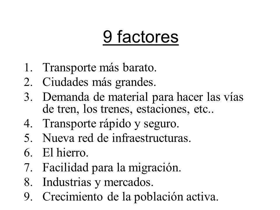 9 factores 1. Transporte más barato. 2. Ciudades más grandes. 3. Demanda de material para hacer las vías de tren, los trenes, estaciones, etc.. 4. Tra