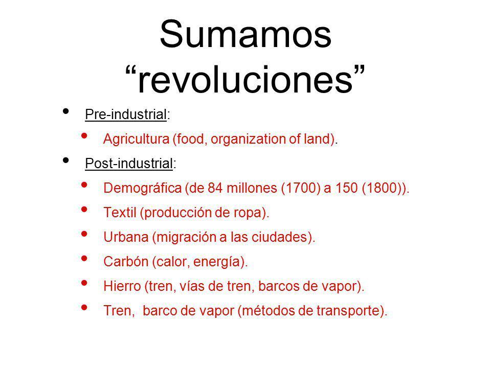 Sumamos revoluciones Pre-industrial: Agricultura (food, organization of land). Post-industrial: Demográfica (de 84 millones (1700) a 150 (1800)). Text
