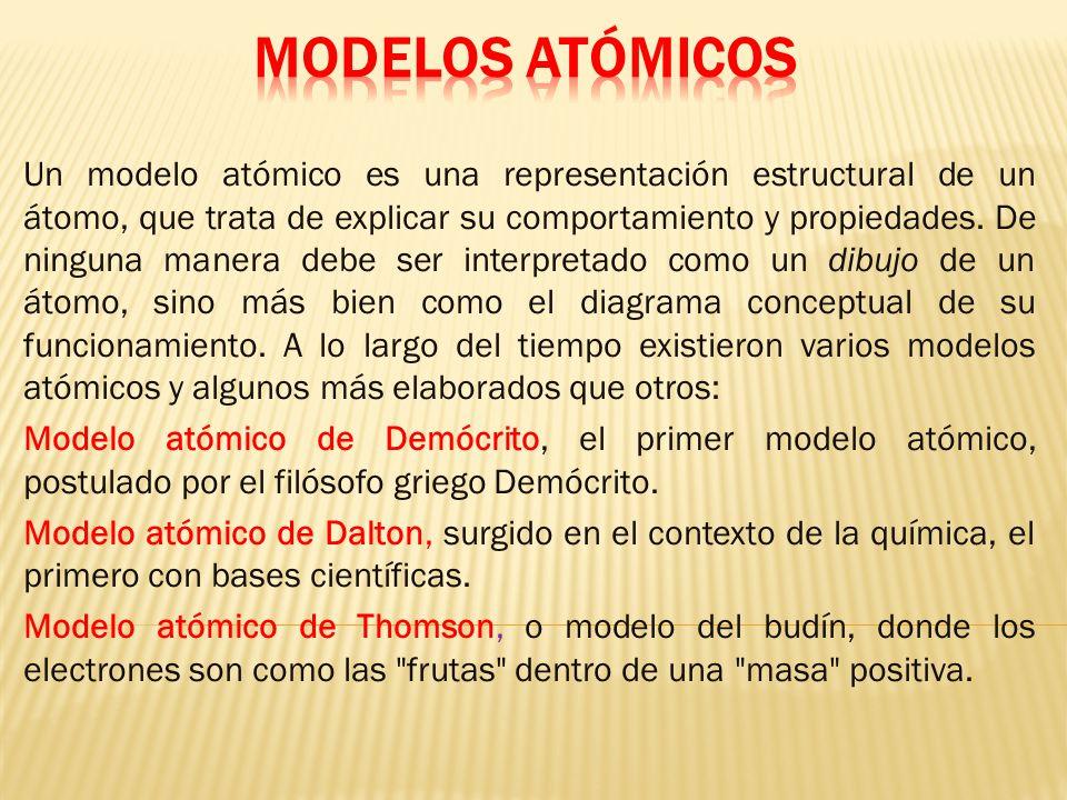 Un modelo atómico es una representación estructural de un átomo, que trata de explicar su comportamiento y propiedades.