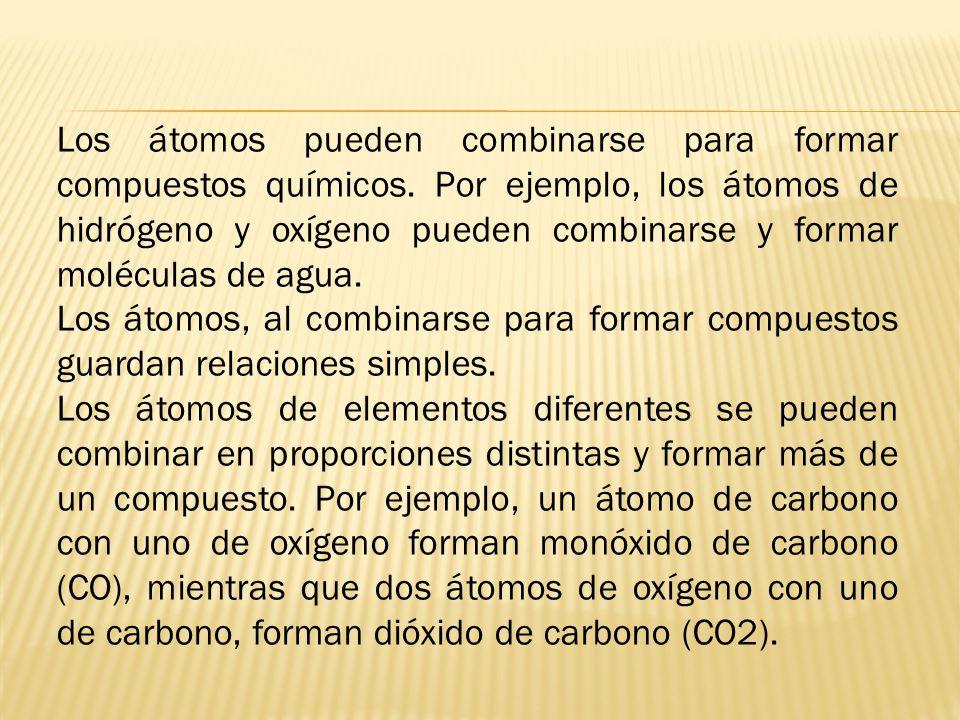 Los átomos pueden combinarse para formar compuestos químicos.