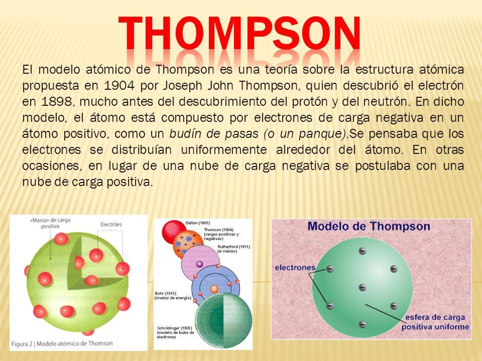 El modelo atómico de Thompson es una teoría sobre la estructura atómica propuesta en 1904 por Joseph John Thompson, quien descubrió el electrón en 1898, mucho antes del descubrimiento del protón y del neutrón.