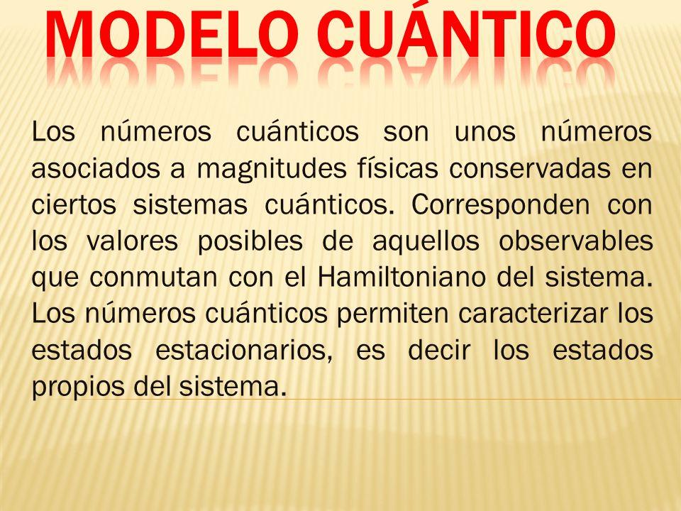 Los números cuánticos son unos números asociados a magnitudes físicas conservadas en ciertos sistemas cuánticos.