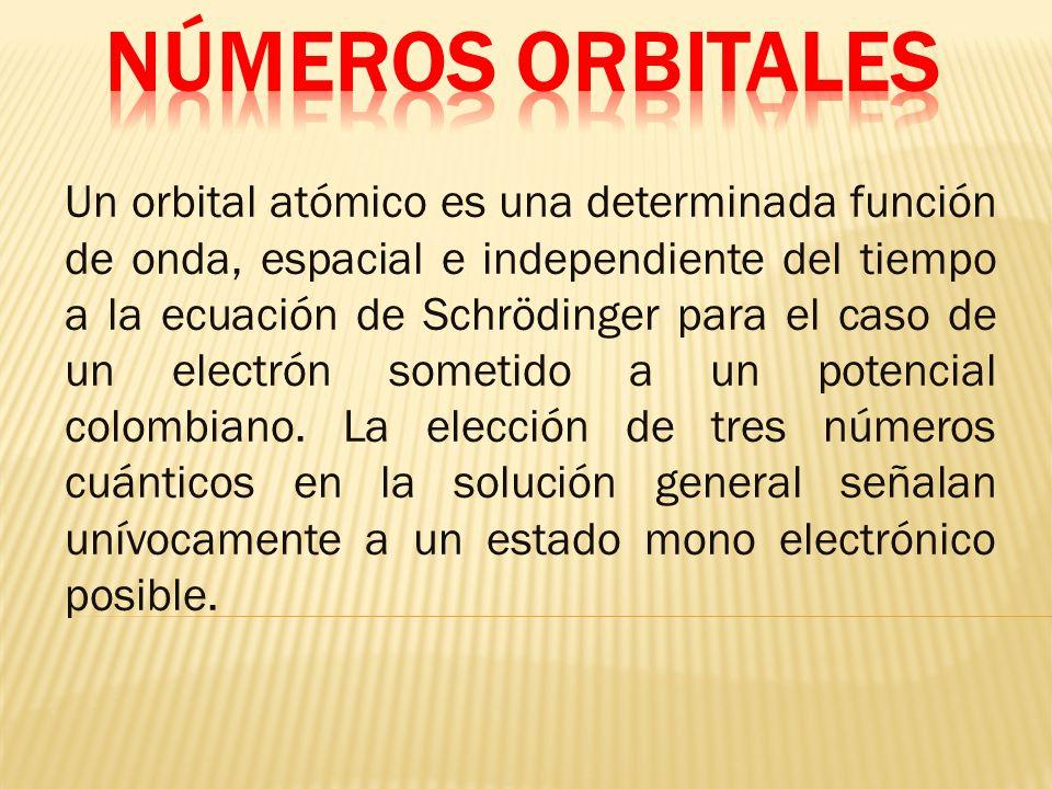 Un orbital atómico es una determinada función de onda, espacial e independiente del tiempo a la ecuación de Schrödinger para el caso de un electrón sometido a un potencial colombiano.
