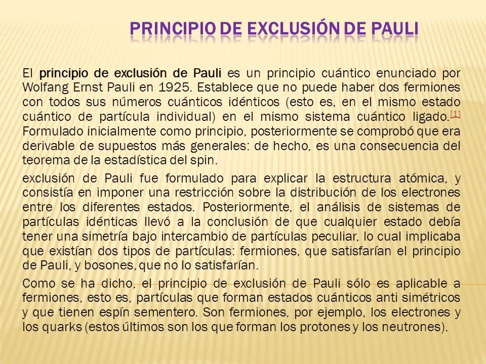 El principio de exclusión de Pauli es un principio cuántico enunciado por Wolfang Ernst Pauli en 1925.