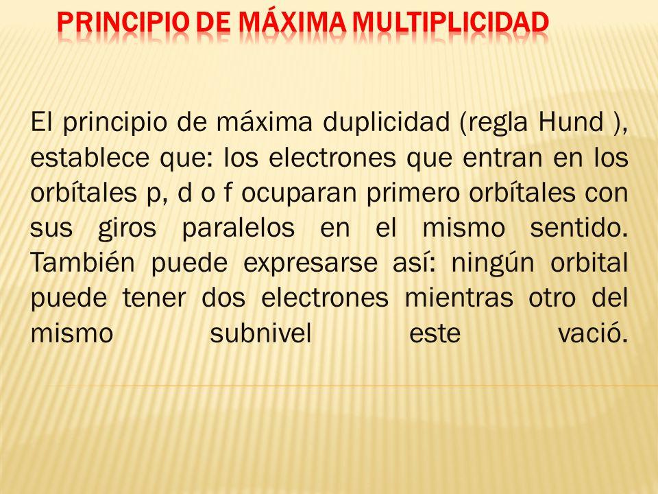 El principio de máxima duplicidad (regla Hund ), establece que: los electrones que entran en los orbítales p, d o f ocuparan primero orbítales con sus giros paralelos en el mismo sentido.