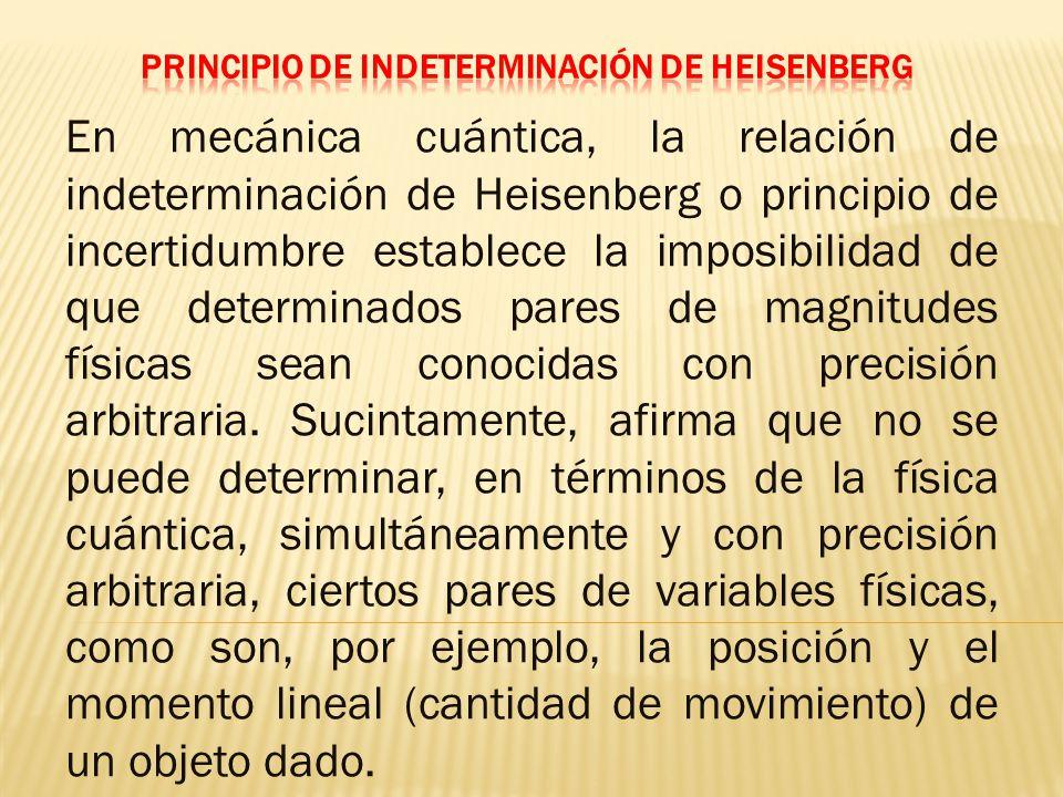 En mecánica cuántica, la relación de indeterminación de Heisenberg o principio de incertidumbre establece la imposibilidad de que determinados pares de magnitudes físicas sean conocidas con precisión arbitraria.