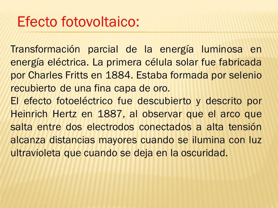 Transformación parcial de la energía luminosa en energía eléctrica.