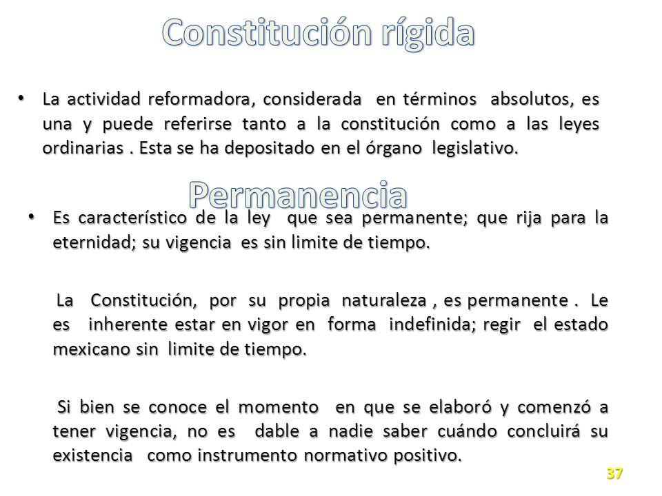 La actividad reformadora, considerada en términos absolutos, es una y puede referirse tanto a la constitución como a las leyes ordinarias.