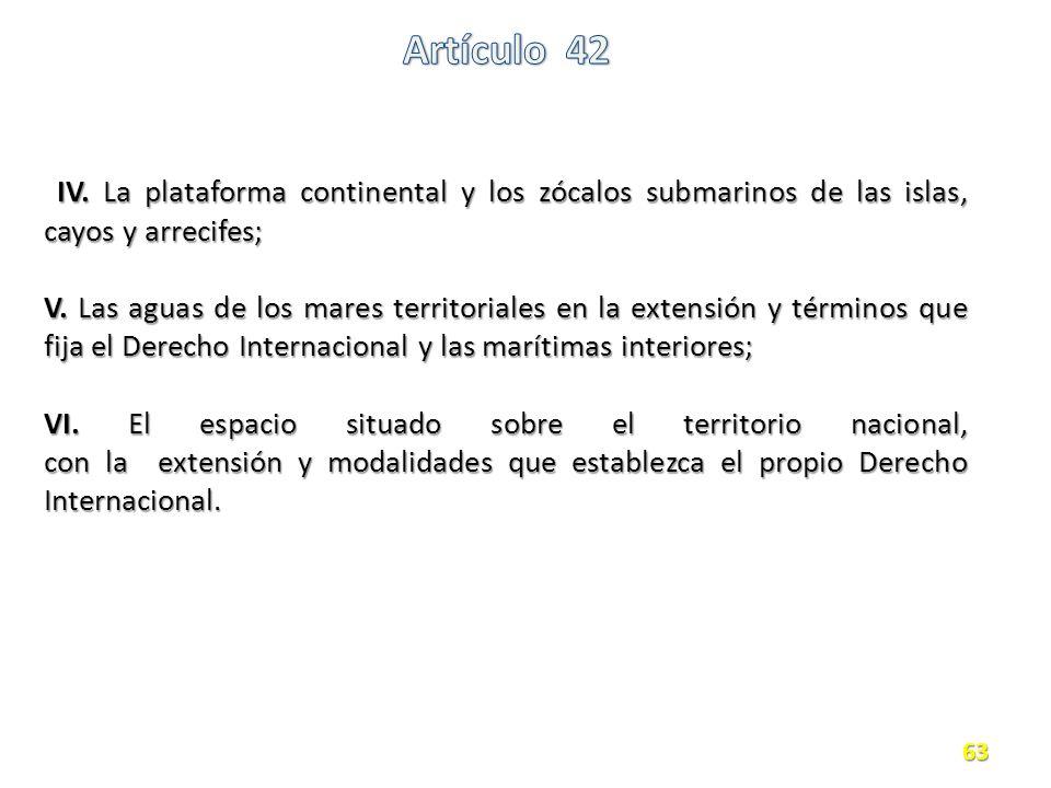 IV.La plataforma continental y los zócalos submarinos de las islas, cayos y arrecifes; IV.