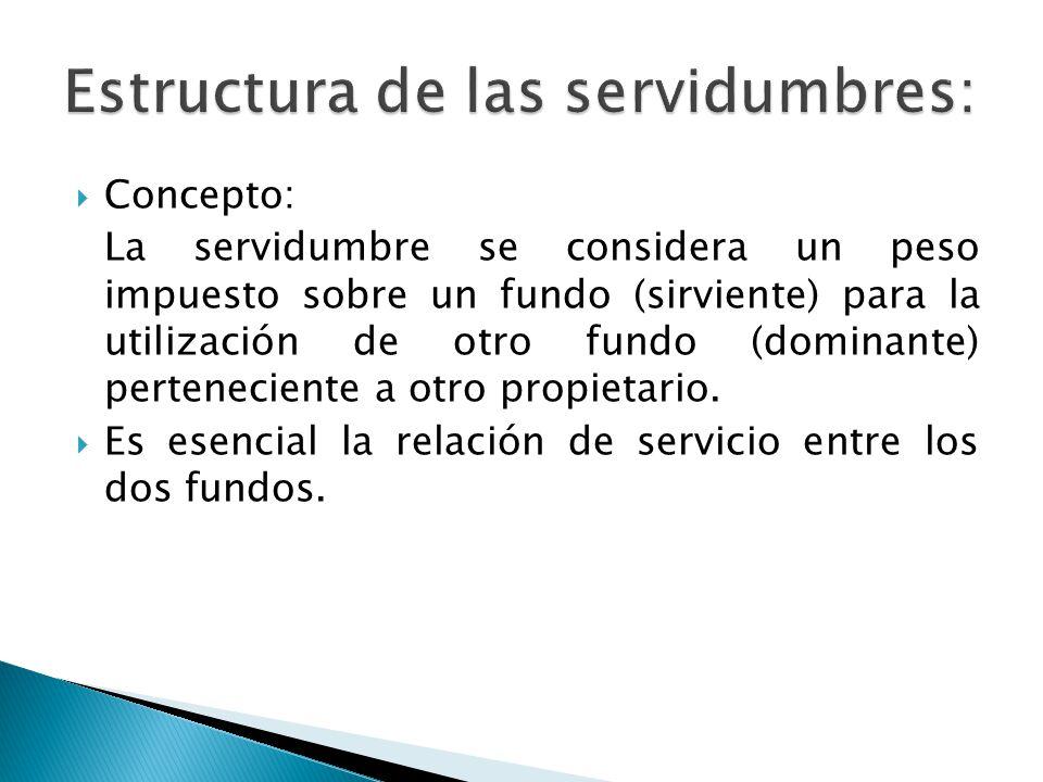 Concepto: La servidumbre se considera un peso impuesto sobre un fundo (sirviente) para la utilización de otro fundo (dominante) perteneciente a otro propietario.