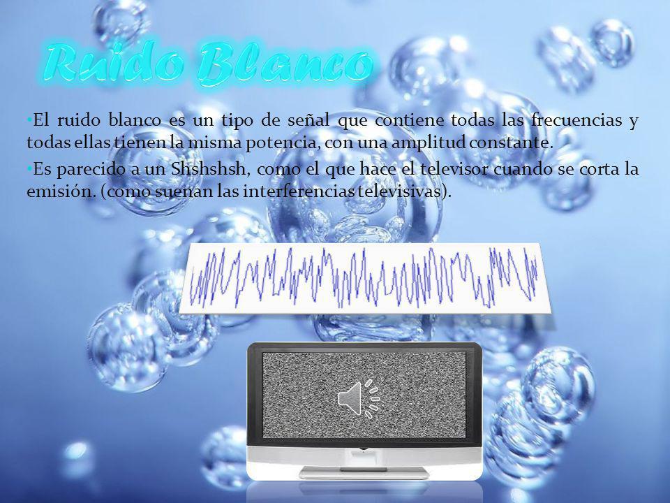 El ruido blanco es un tipo de señal que contiene todas las frecuencias y todas ellas tienen la misma potencia, con una amplitud constante.