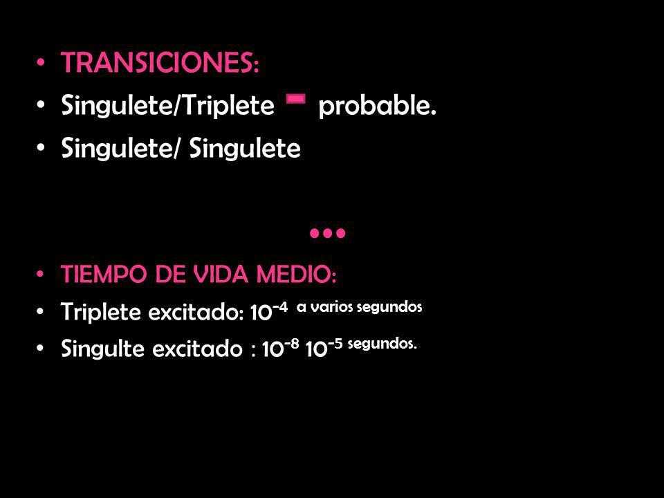 TRANSICIONES: Singulete/Triplete probable. Singulete/ Singulete... TIEMPO DE VIDA MEDIO: Triplete excitado: 10 -4 a varios segundos Singulte excitado