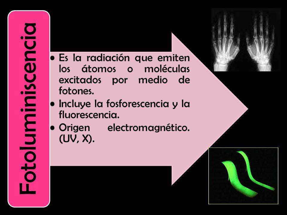 Es la radiación que emiten los átomos o moléculas excitados por medio de fotones. Incluye la fosforescencia y la fluorescencia. Origen electromagnétic