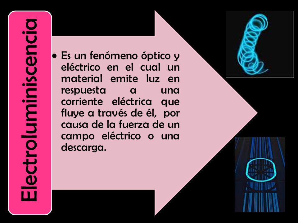 Es un fenómeno óptico y eléctrico en el cual un material emite luz en respuesta a una corriente eléctrica que fluye a través de él, por causa de la fu