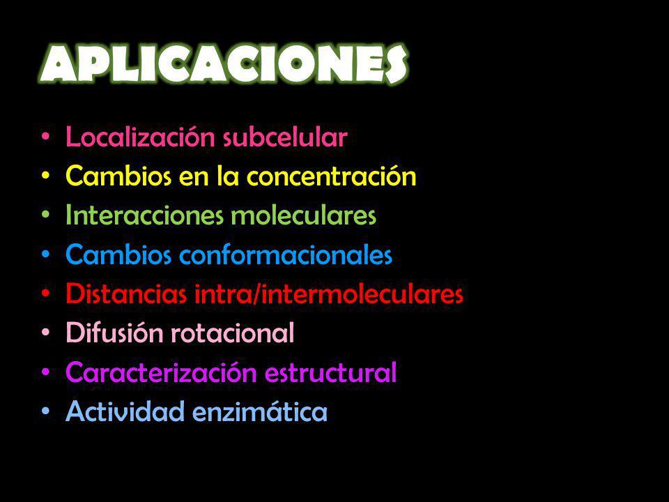 Localización subcelular Cambios en la concentración Interacciones moleculares Cambios conformacionales Distancias intra/intermoleculares Difusión rota