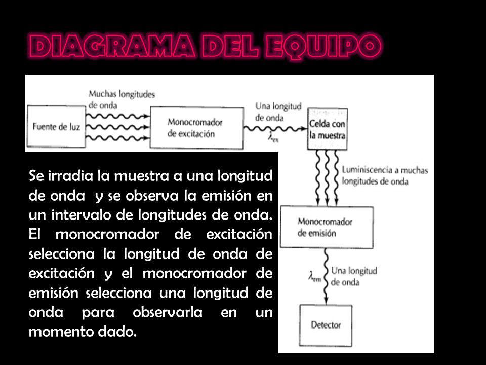 Se irradia la muestra a una longitud de onda y se observa la emisión en un intervalo de longitudes de onda. El monocromador de excitación selecciona l