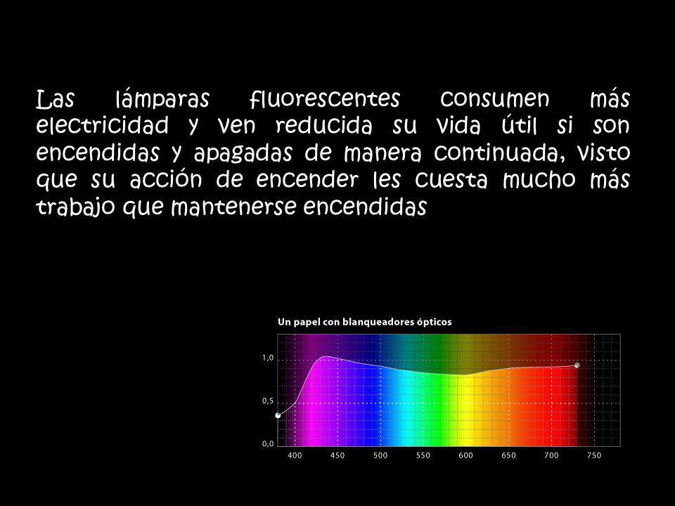Las lámparas fluorescentes consumen más electricidad y ven reducida su vida útil si son encendidas y apagadas de manera continuada, visto que su acció