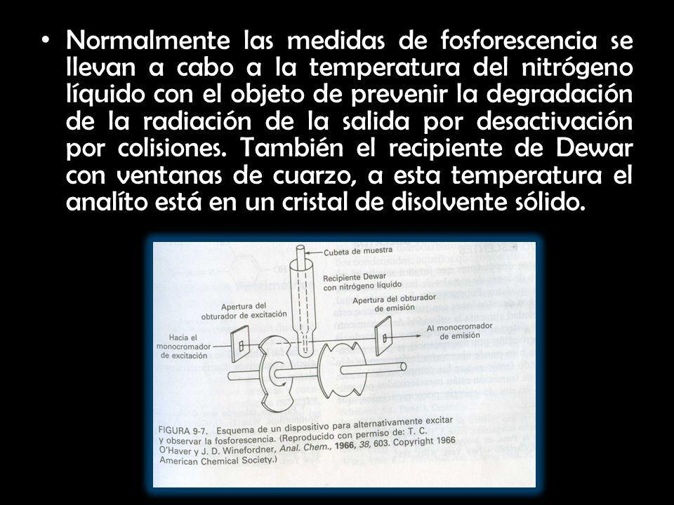 Normalmente las medidas de fosforescencia se llevan a cabo a la temperatura del nitrógeno líquido con el objeto de prevenir la degradación de la radia