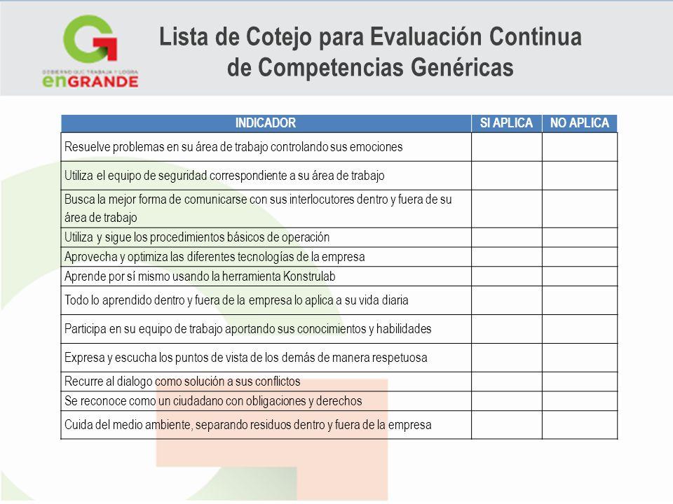 Lista de Cotejo para Evaluación Continua de Competencias Genéricas INDICADORSI APLICANO APLICA Resuelve problemas en su área de trabajo controlando su