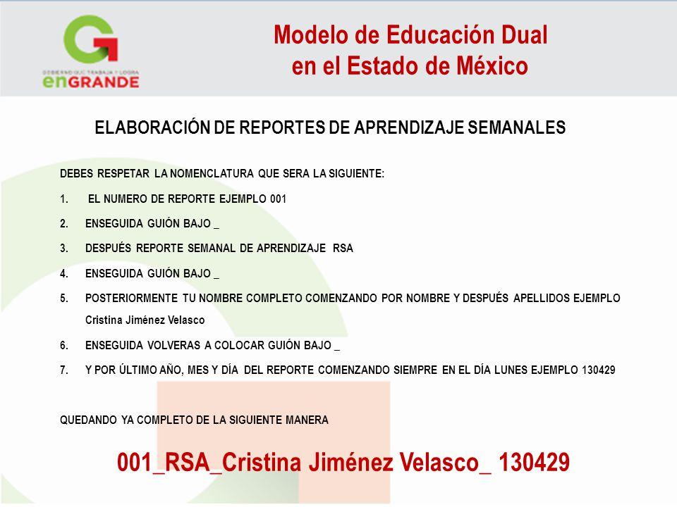 ELABORACIÓN DE REPORTES DE APRENDIZAJE SEMANALES DEBES RESPETAR LA NOMENCLATURA QUE SERA LA SIGUIENTE: 1. EL NUMERO DE REPORTE EJEMPLO 001 2.ENSEGUIDA