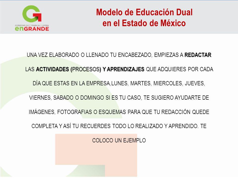 Modelo de Educación Dual en el Estado de México REDACTAR ACTIVIDADES ( PROCESOS )Y APRENDIZAJES UNA VEZ ELABORADO O LLENADO TU ENCABEZADO, EMPIEZAS A