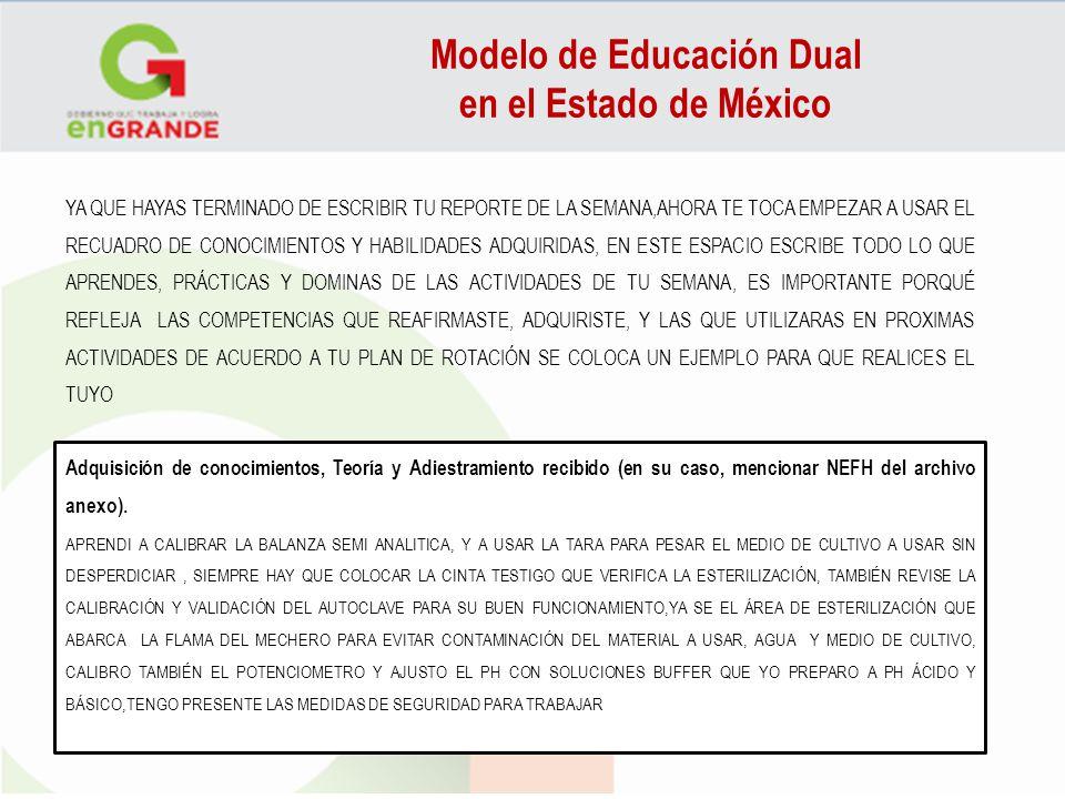 Modelo de Educación Dual en el Estado de México YA QUE HAYAS TERMINADO DE ESCRIBIR TU REPORTE DE LA SEMANA,AHORA TE TOCA EMPEZAR A USAR EL RECUADRO DE