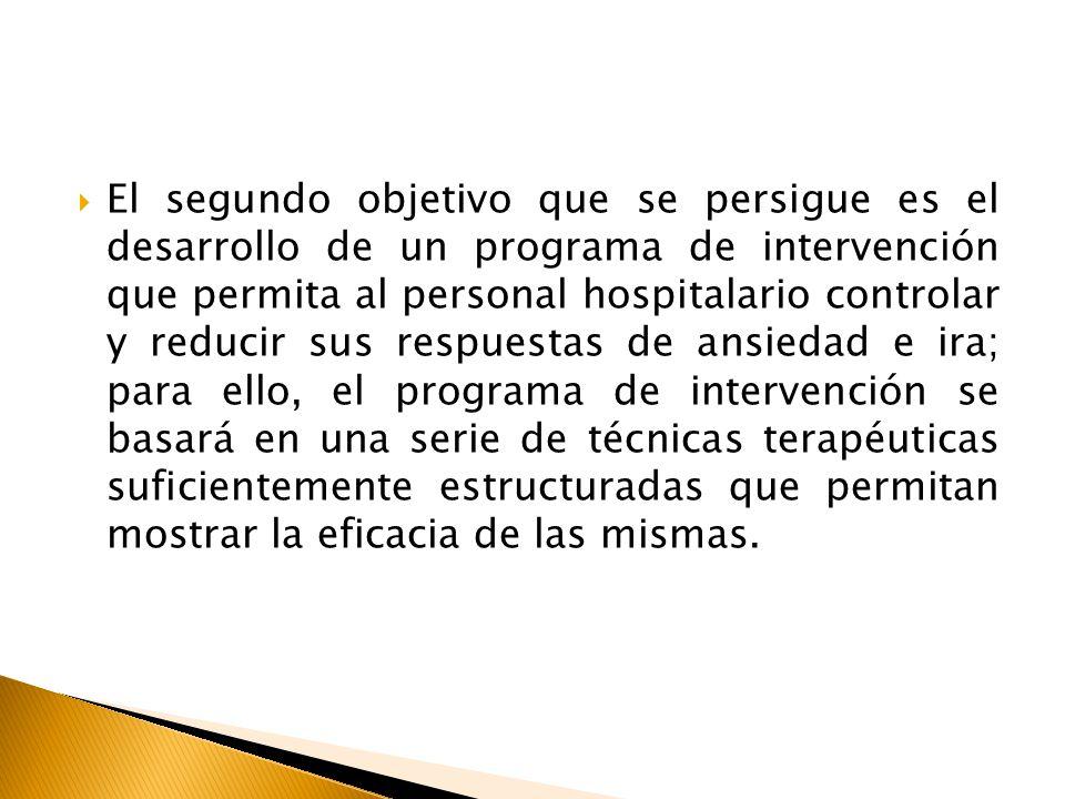 El segundo objetivo que se persigue es el desarrollo de un programa de intervención que permita al personal hospitalario controlar y reducir sus respu