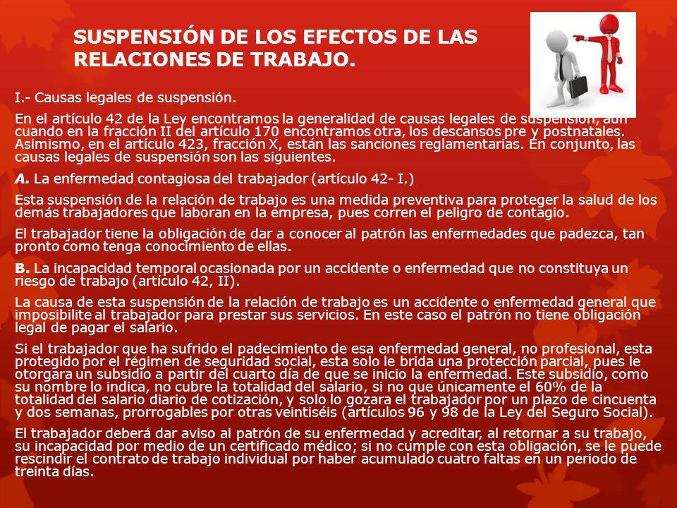 SUSPENSIÓN DE LOS EFECTOS DE LAS RELACIONES DE TRABAJO. I.- Causas legales de suspensión. En el artículo 42 de la Ley encontramos la generalidad de ca
