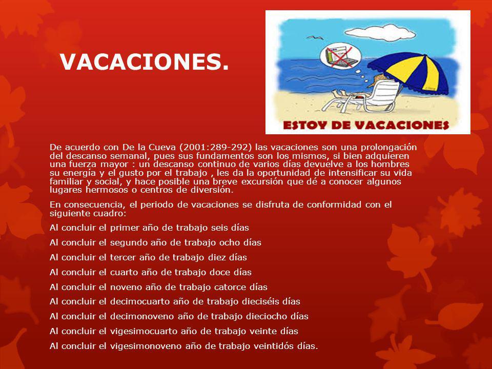 VACACIONES. De acuerdo con De la Cueva (2001:289-292) las vacaciones son una prolongación del descanso semanal, pues sus fundamentos son los mismos, s