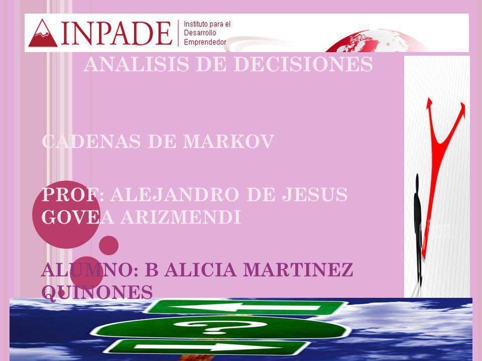 CADENAS DE MARKOV PROF: ALEJANDRO DE JESUS GOVEA ARIZMENDI ALUMNO: B ALICIA MARTINEZ QUINONES ANALISIS DE DECISIONES