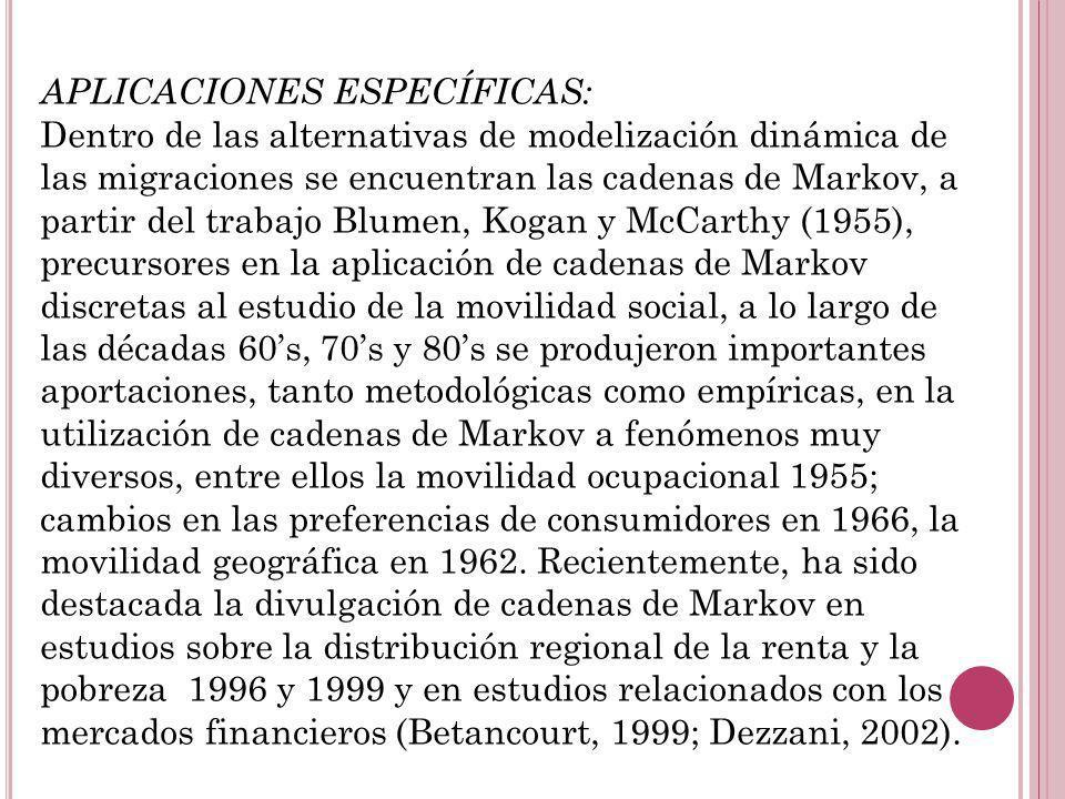 APLICACIONES ESPECÍFICAS: Dentro de las alternativas de modelización dinámica de las migraciones se encuentran las cadenas de Markov, a partir del tra